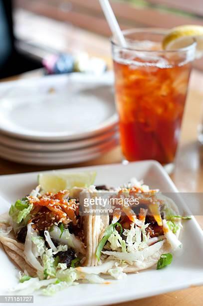 Korean Beef Tacos with lemon tea