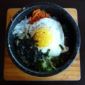 Korean Bibimbap Mixed Rice in Hot Stone Bowl