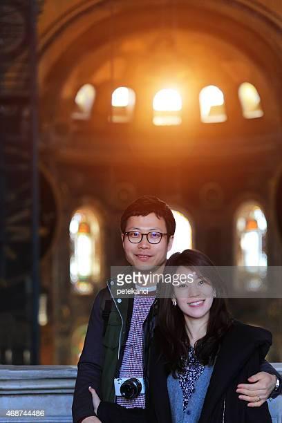 韓国のカップルハギアソフィアで