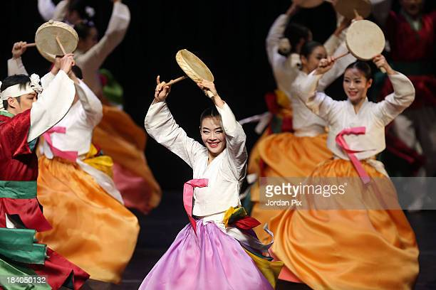 Korean dancers of the National Gugak Center perform 'The Movements of Korea' on October 10 2013 in Amman Jordan The National Gugak Center has been...