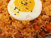 Korean food Kimchi fried rice with fried egg on top