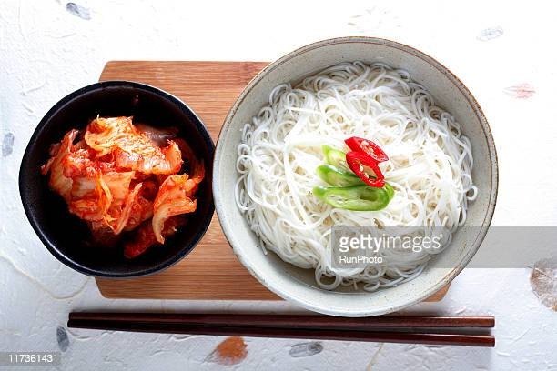 korean food,simple noodles&kimchi