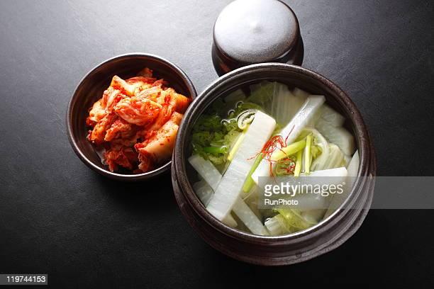 korean food,white radish kimchi