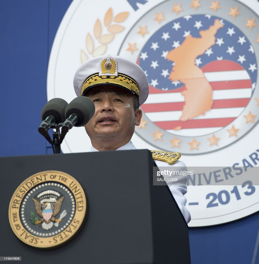 Korean General Jung Seung-jo, Chairman of Korea's Joint Chiefs of Staff, speaks during a ceremony to commemorate the 60th anniversary of the signing of the Armistice that ended the Korean War, at the Korean War Veterans Memorial in Washington, DC, July 27, 2013. AFP PHOTO / Saul LOEB