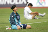 Korean goalkeeper Kim Jung Mi reacts during the friendship match between China national women's soccer team and Korea in Hangzhou on May 13 2007...