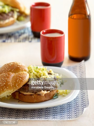 Korean Kimchi Burgers with Beer : Stock Photo