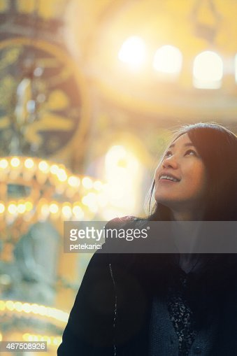 Korean Lady in The Hagia Sophia