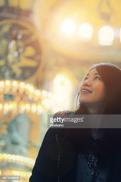 Korean Lady in The Hagia Sophia