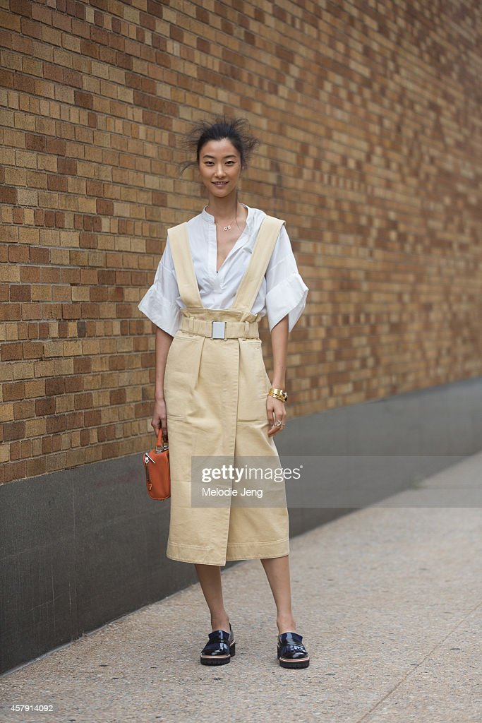 Korean model Ji Hye Park wears a Phillip Lim outfit after the 3.1 Phillip Lim show on Day 5 of New York Fashion Week Spring/Summer 2015 on September 8, 2014 in New York City