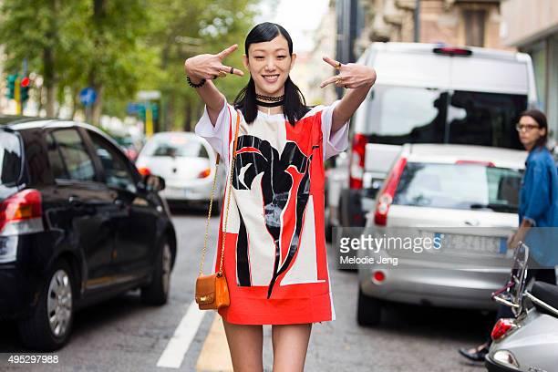Korean model Sora Choi exits the Dolce Gabbana show at Metropol during the Milan Fashion Week Spring/Summer 16 on September 27 2015 in Milan Italy...