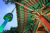 Namsan Tower With Korean Pavilion At Night