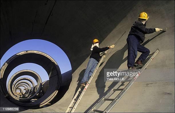 Korean plant producing prestressed concrete cylinder pipes in Brega Libya in 1999