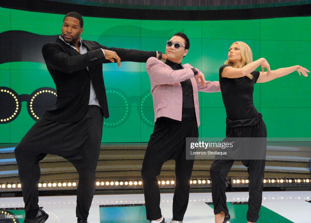 "MICHAEL -5/6/13 - Korean pop sensation PSY teaches the hosts his signature dance moves from the new hit ""Gentleman,""on 'LIVE with Kelly and Michael,' distributed by Disney-ABC Domestic Television. MICHAEL"