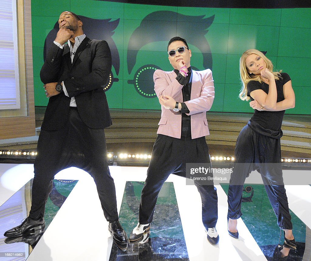 """MICHAEL -5/6/13 - Korean pop sensation PSY teaches the hosts his signature dance moves from the new hit """"Gentleman,""""on 'LIVE with Kelly and Michael,' distributed by Disney-ABC Domestic Television. MICHAEL"""