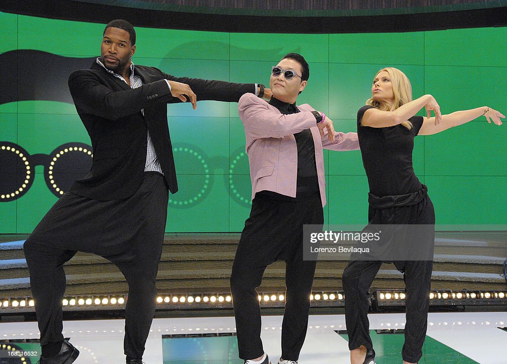 "MICHAEL -5/6/13 - Korean pop sensation PSY teaches the hosts his signature dance moves from the new hit ""Gentleman,""on 'LIVE with Kelly and Michael,' distributed by Disney-ABC Domestic Television. RIPA"