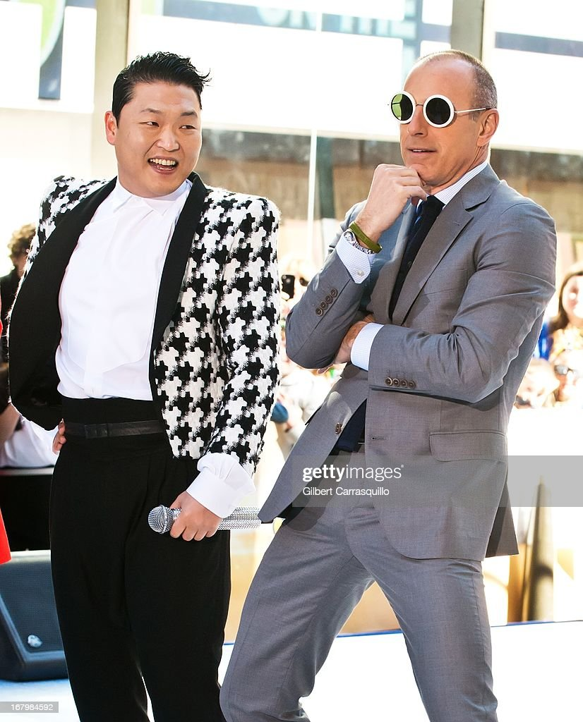 Korean Pop singer Psy and <a gi-track='captionPersonalityLinkClicked' href=/galleries/search?phrase=Matt+Lauer&family=editorial&specificpeople=206146 ng-click='$event.stopPropagation()'>Matt Lauer</a> Perform On NBC's 'Today Show' at Rockefeller Plaza on May 3, 2013 in New York City.