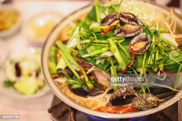 Korean Seafood Stew and Side Dishes, Jeju Island, South Korea