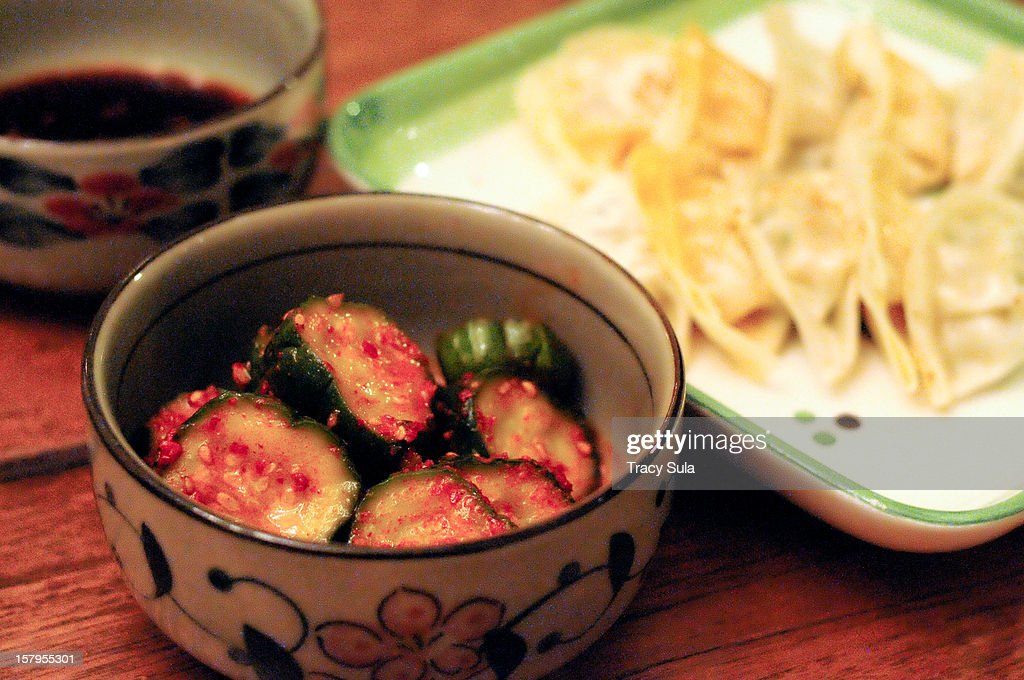 Korean side dishes and dumplings : Stock Photo