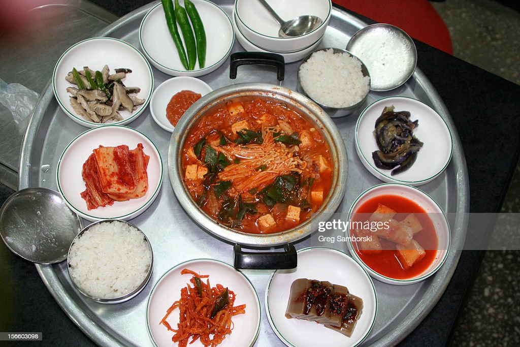 Korean Soup With Traditional Side Dishes