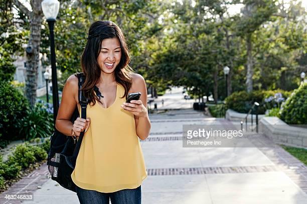 Korean student smiling on campus