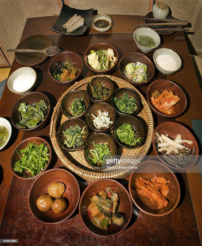 Korean Vegetarian dishes and Kimchi
