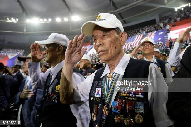 Korean veterans attend the ceremony to commemorate the 64th Anniversary of the Korean War armistice agreement on July 27 2017 in Seoul South Korea On...