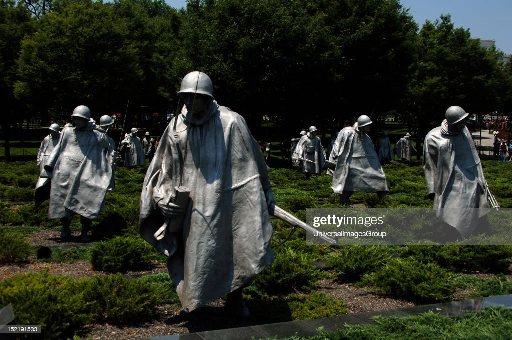 Korean War Veterans Memorial Group of 19 stainless steel sculptures by Frank Gaylord representing a squad patrol Detail West Potomac Park National...