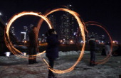 Koreans spin fire cans during 'Jwibulnoli' a South Korean folk game at Han River on February 23 2012 in Seoul South Korea The event is part of a...