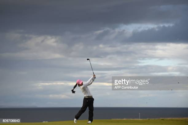 Korea's InKyung Kim watches her approach shot from the 17th fairway during her third round on day 3 of the 2017 Women's British Open Golf...