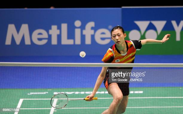 Korea's Kim Ha Na plays a shot during day two of the 2015 Yonex All England Badminton Championships at the Barclaycard Arena Birmingham