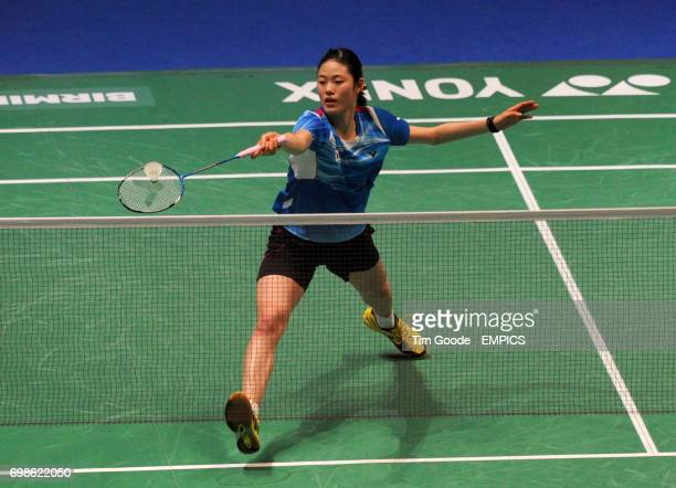 Korea's Kim Hyo Min plays a shot during day two of the 2015 Yonex All England Badminton Championships at the Barclaycard Arena Birmingham