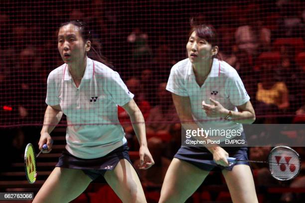 Korea's Lee Kyung Won and Lee Hyo Jung in action during their doubles match