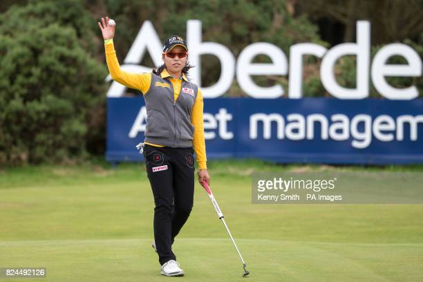 Korea's Mi Hyang Lee acknowledges the fans on the 18th green during day four of the Aberdeen Asset Management Ladies Scottish Open at Dundonald Links...