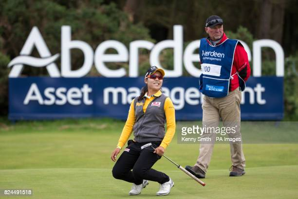 Korea's Mi Hyang Lee reacts to missing an eagle putt on the 18th during day four of the Aberdeen Asset Management Ladies Scottish Open at Dundonald...