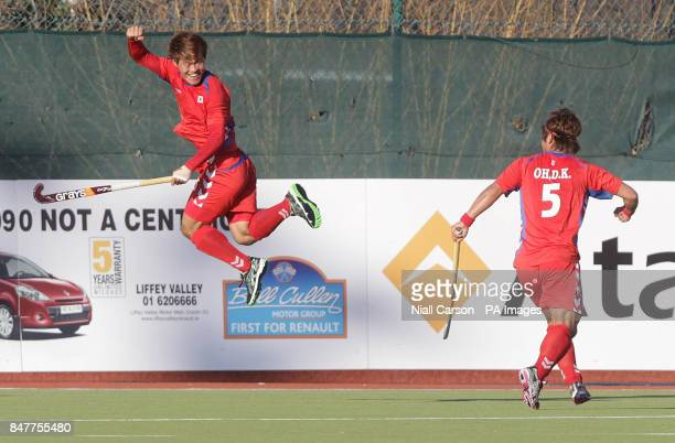Korea's Nam Yong Lee celebrates his goal during their International Hockey Federation Olympic qualifing match at Belfield in Dublin