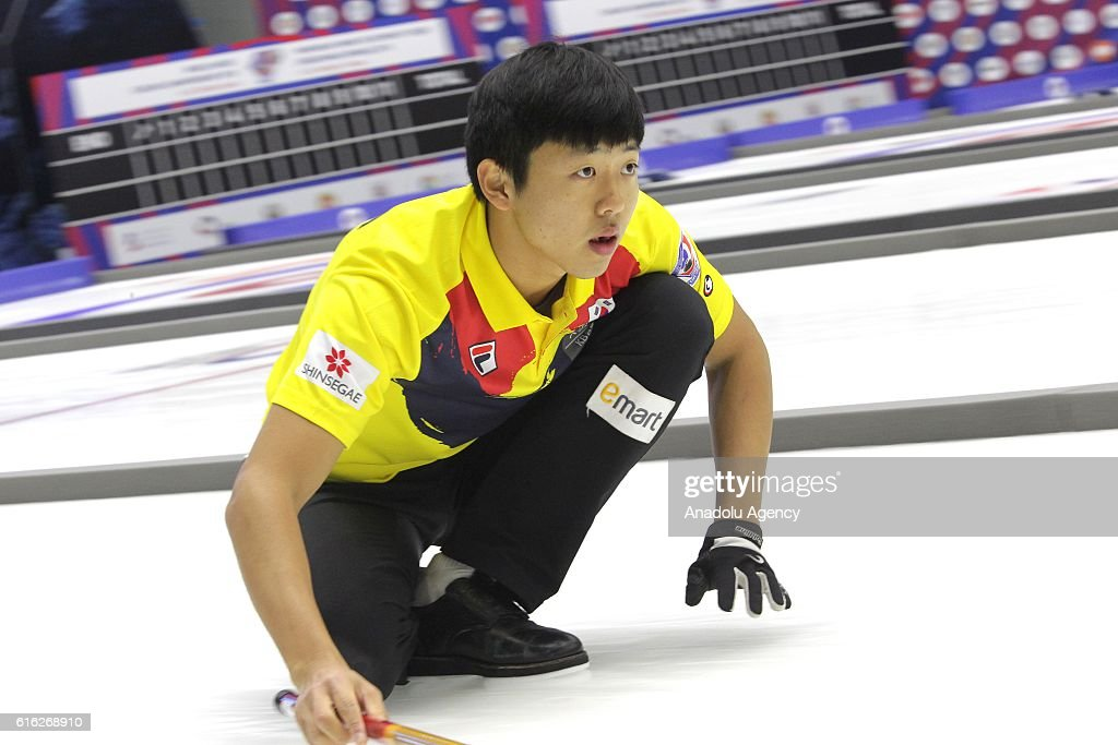 Korea's skip Lee Kibok in action during semi-finals the game between Russia and Korea within the World Mixed Curling Championship 2016 at the Sport Palace in Kazan, Russia on October 22, 2016.