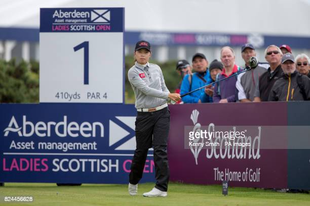 Korea's Sun Young Yoo tees off at the 1st hole during day four of the Aberdeen Asset Management Ladies Scottish Open at Dundonald Links North Ayrshire