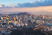 Korea,Sunset of Seoul City Skyline