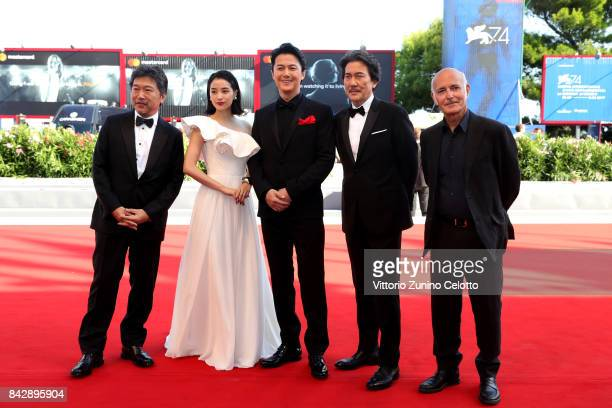 KoreEda Hirokazu Hirose Suzu Yakusho Koji Fukuyama Masaharu and Ludovico Einaudi walk the red carpet ahead of the 'The Third Murder ' screening...