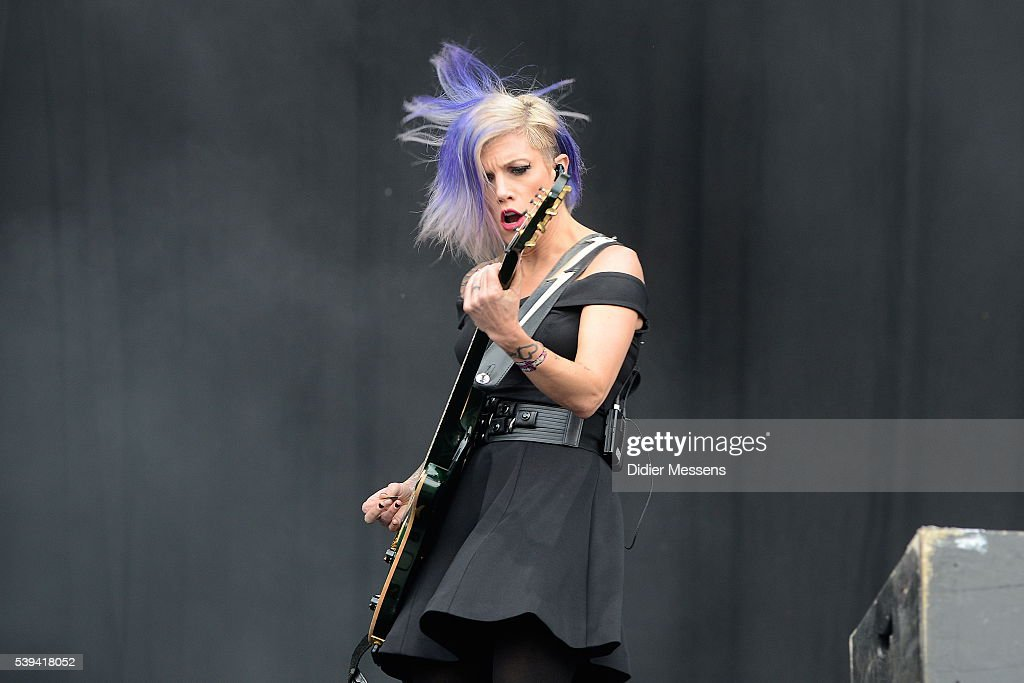 Korey Cooper of Skillet perfoms on stage during the second day of Pinkpop festival on June 11 2016 in Landgraaf Netherlands
