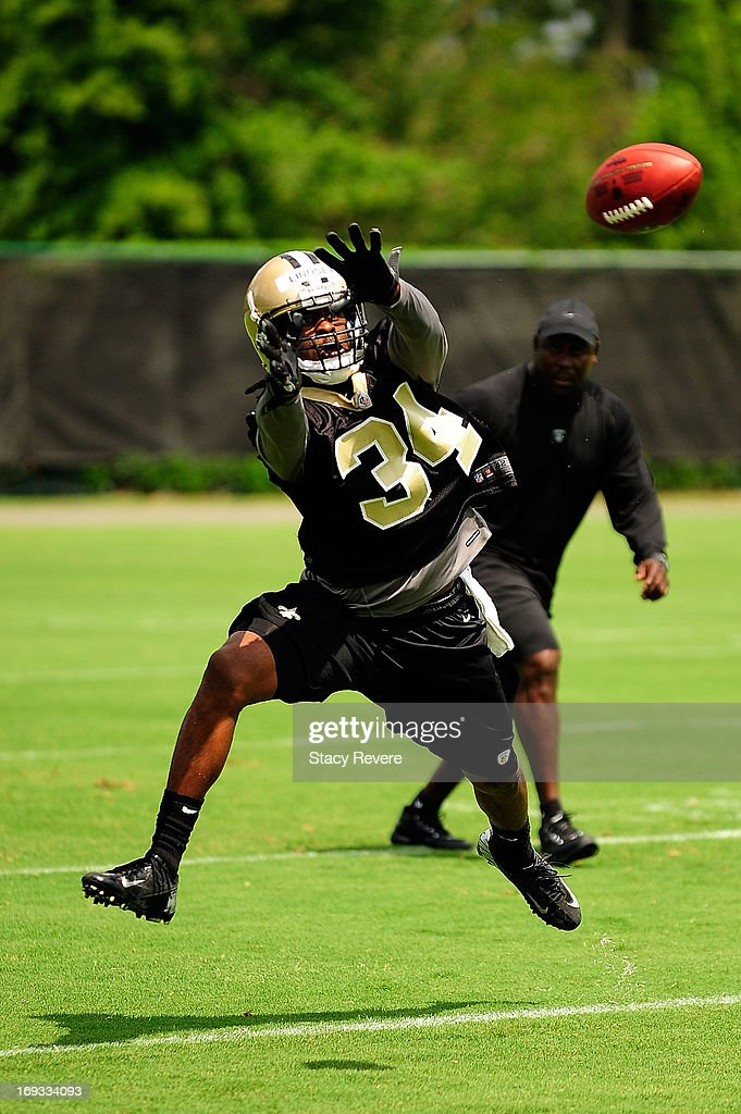 Korey Lindsey #34 of the New Orleans Saints goes through drills during OTA's, organized team activities, at the Saints training facility on May 23, 2013 in Metairie, Louisiana.