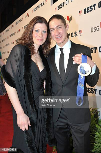 Kori Ade and Jason Brown walk the red carpet during the US Olympic Committee's Best of US Awards at Warner Theatre on April 2 2014 in Washington DC