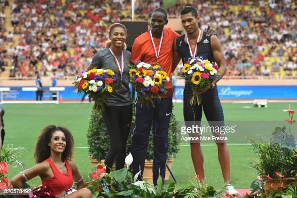 Kori Carter of USA Elijah Manangoi of Kenya and Wayde Van Niekerk of South Africa during the IAAF Diamond League Meeting Herculis on July 21 2017 in...