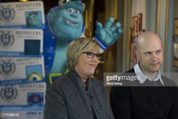 Kori Rae producer of the Pixar movie 'Monsters University' left and Dan Scanlon director of the Pixar movie 'Monsters University' listen during a...