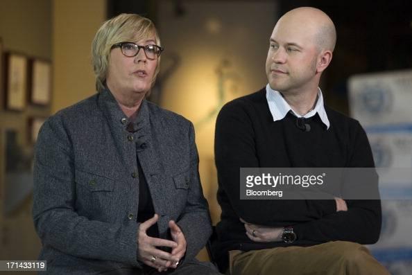 Kori Rae producer of the Pixar movie 'Monsters University' left speaks Dan Scanlon director of the Pixar movie 'Monsters University' while listens...
