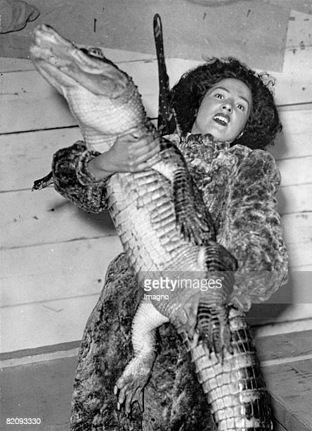 Koringa the only female fakir with the crocodile which she hypnotizes during her act Plymouth Photograph 1937 [Koringa der einzige weibliche Fakir...