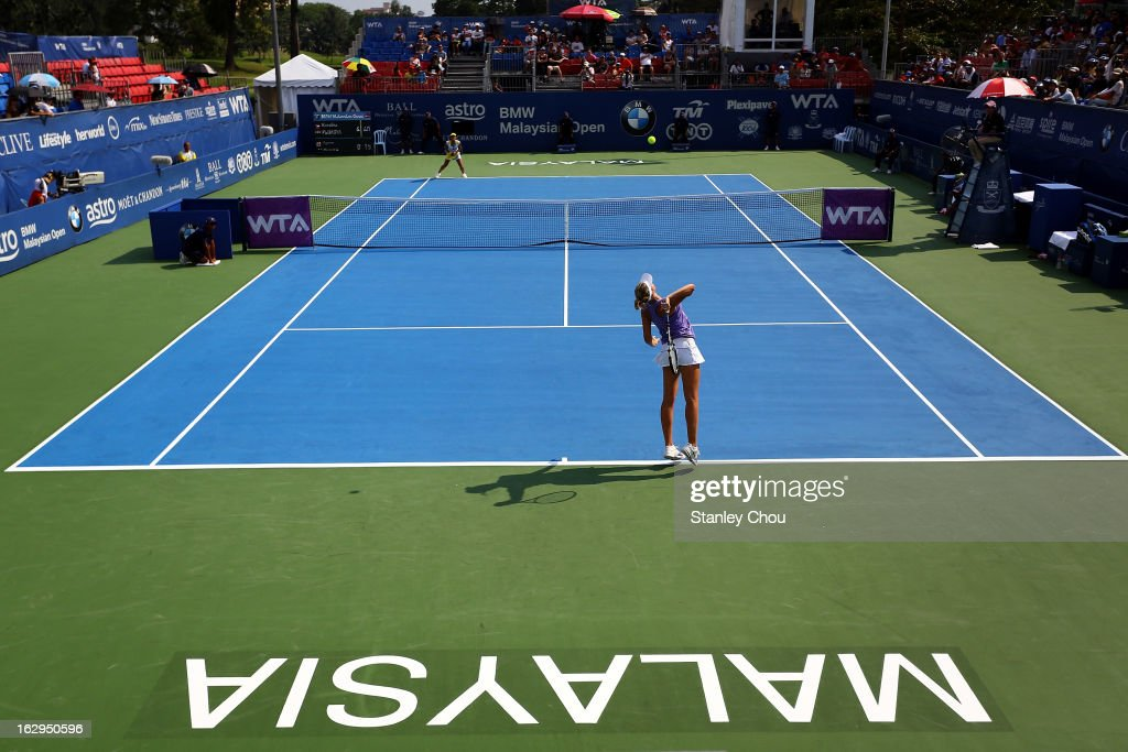 Korolina Pliskova of Czech Republic plays a shot in her Semi Final match against Ayumi Morita of Japan at the Royal Selangor Golf Club on March 2, 2013 in Kuala Lumpur, Malaysia.