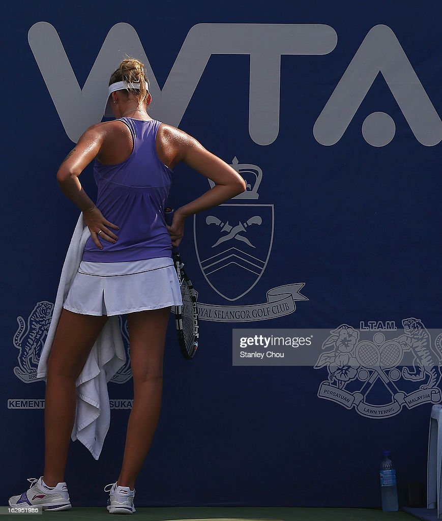 Korolina Pliskova of Czech Republic turns away during her Semi Final match against Ayumi Morita of Japan at the 2013 BMW Malaysian Open held at the Royal Selangor Golf Club on March 2, 2013 in Kuala Lumpur, Malaysia.