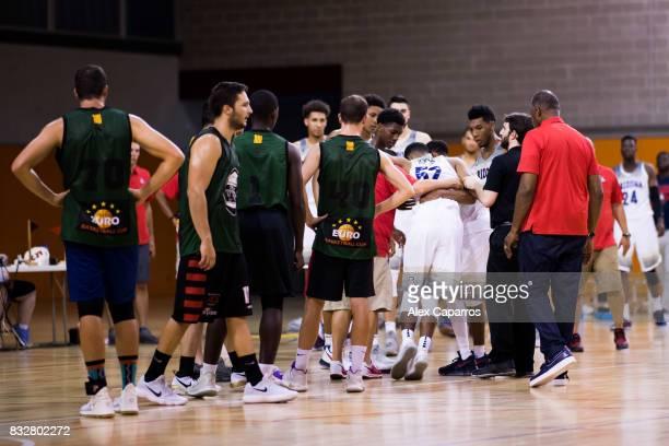 Kory Jones of the Arizona Wildcats leaves the court injured during the Arizona In Espana Foreign Tour game between Mataro AllStars and Arizona on...