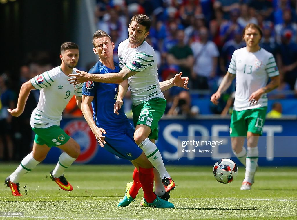 Koscielny (21) of France in action against Brady (19) of Ireland during the UEFA Euro 2016 Round of 16 football match between France and Ireland at the Stade de Lyon in Lyon, France on June 26, 2016.